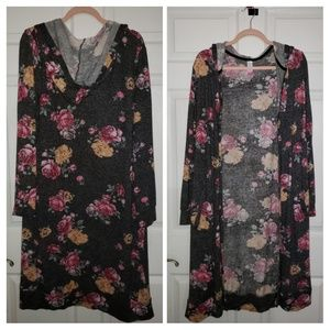 Long floral hooded cardigan